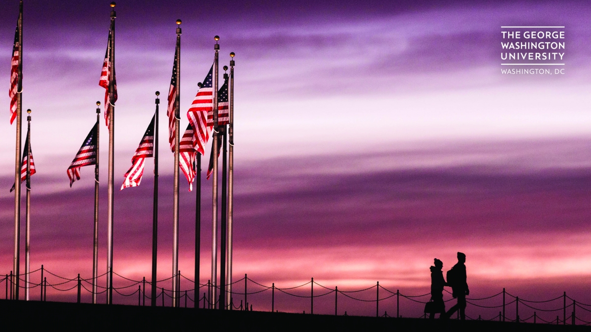 American flags in sunset