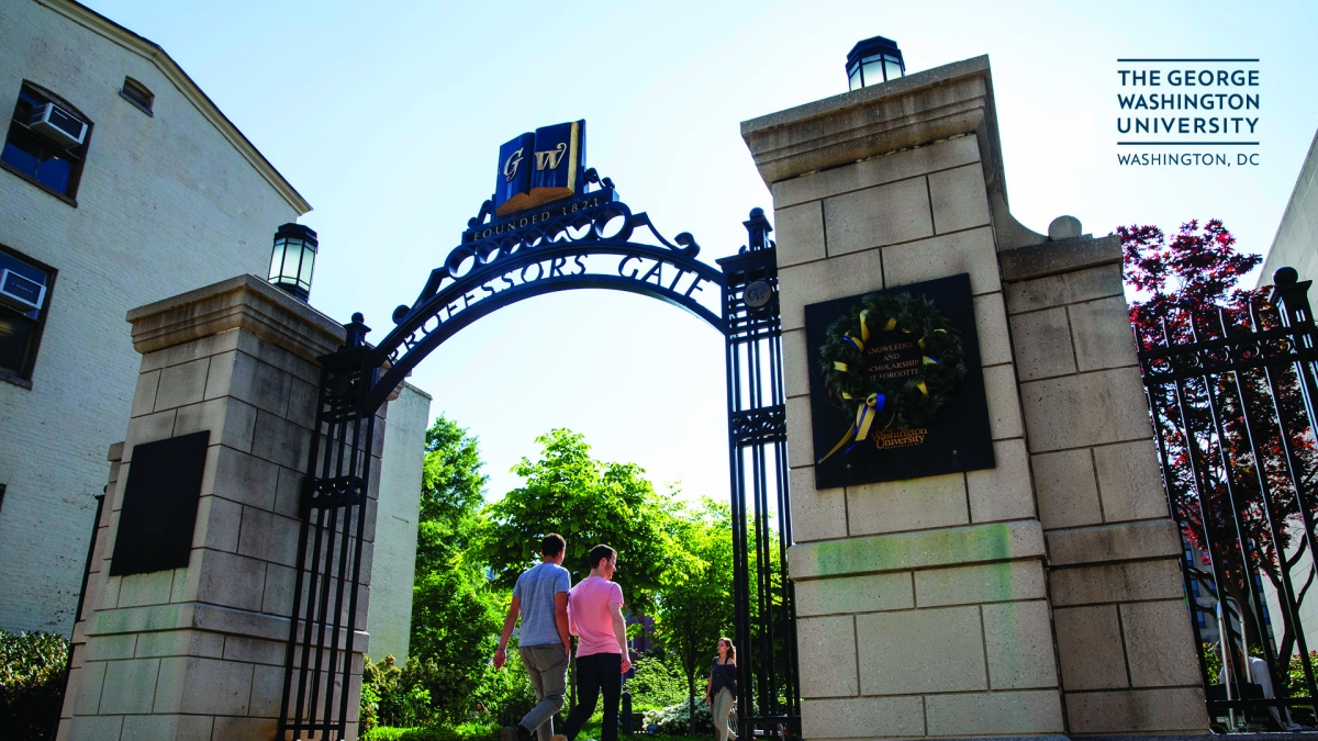 students walking through gate
