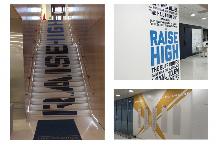 Environmental branding of District house showing staircase and wall graphics.