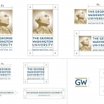 Logo set from GW Visual Identity Guidelines showing logo clear space of all GW logo variations.
