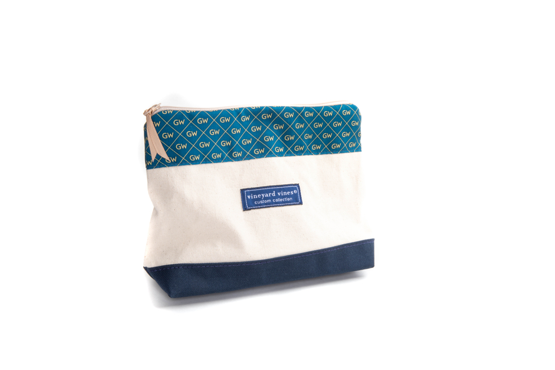 Vinyard Vines makeup bag with GW monograms across the top portion