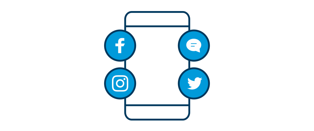 Illustration of a cell phone with logos for Facebook, Twitter, Instagram and messages