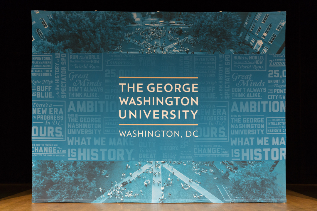 Pop up banner of the George Washington University