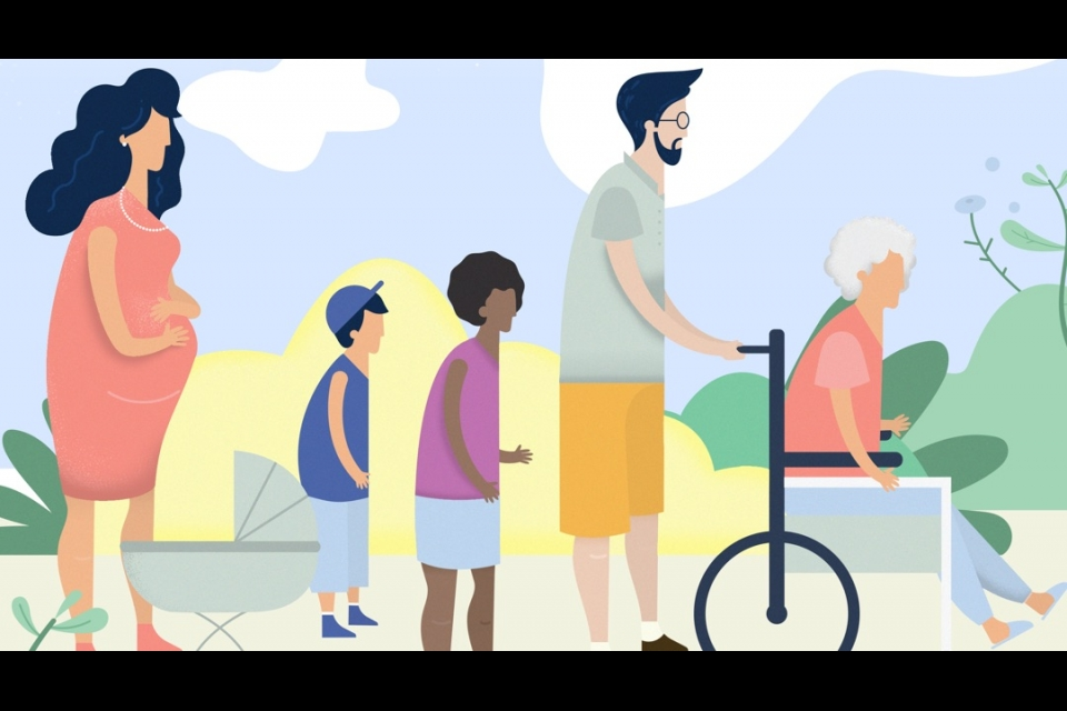 Illustration of diverse people including a pregnant woman, small children and a man pushing a woman in a wheelchair