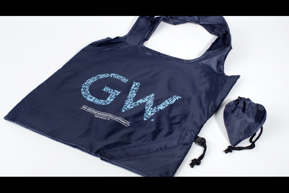 A designed bag with a GW on it