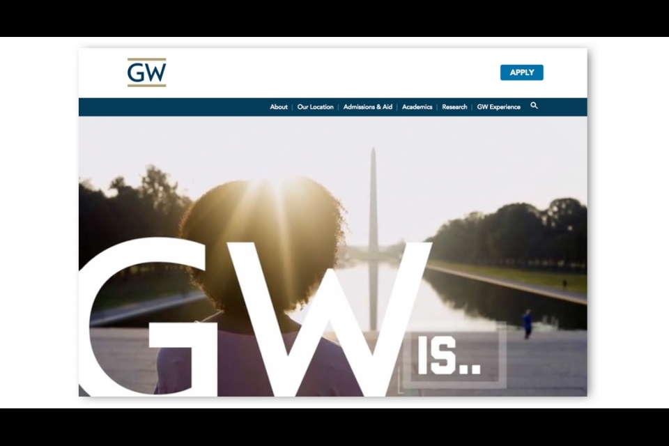 GW Is... over a photo of a girl on the national mall