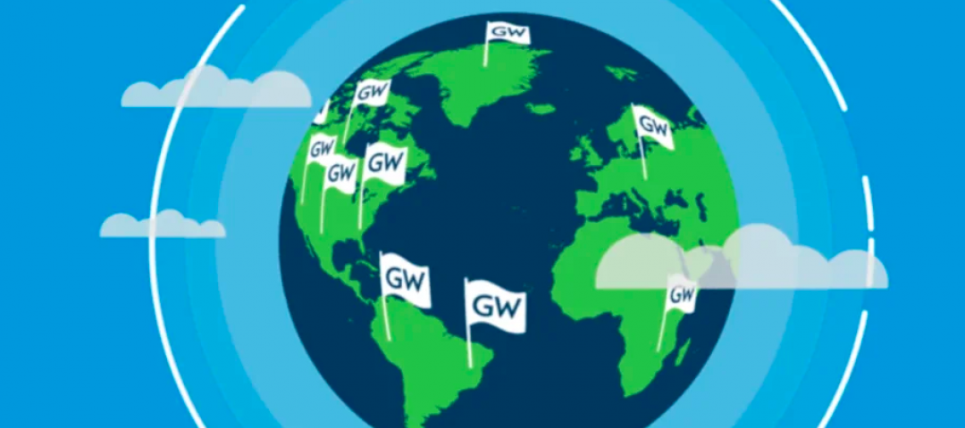 Illustration of the globe with a GW flag in various locations